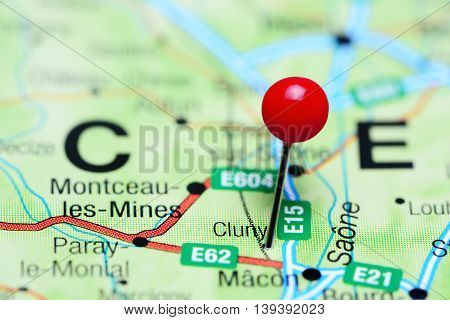 Cluny pinned on a map of France
