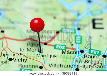 Marcigny pinned on a map of France