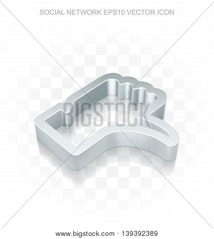 Social media icon: Flat metallic 3d Thumb Down, transparent shadow on light background, EPS 10 vector illustration.