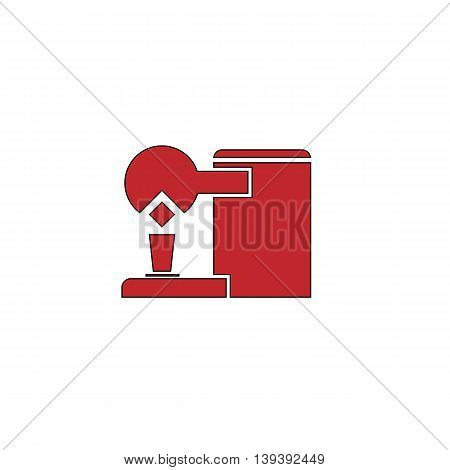 Coffee maker. Red flat simple modern illustration icon with stroke. Collection concept vector pictogram for infographic project and logo