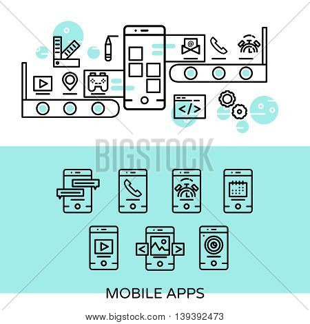 Mobile apps linear composition with creation process and user interface on screen smartphone isolated vector illustration