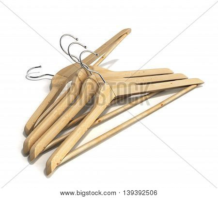 Wooden Coat Hangers 3D Render On White