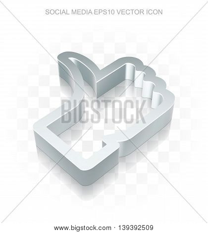 Social media icon: Flat metallic 3d Thumb Up, transparent shadow on light background, EPS 10 vector illustration.