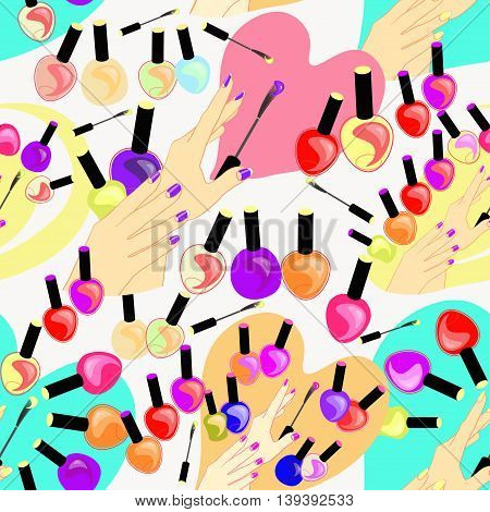 Seamless Pattern Of Care Products And Nail Decoration For Beauty. Vector Illustration