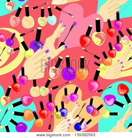 Seamless Pattern Of Care Products And Nail Decoration On A Pink Background. Vector Illustration