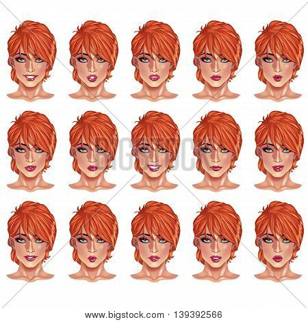 Set of beautiful red haired woman portraits with different lips and face expressions from smiling to serious. Use for avatars logos game characters icons signs products web decor or other design