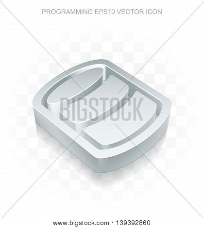Software icon: Flat metallic 3d Database, transparent shadow on light background, EPS 10 vector illustration.