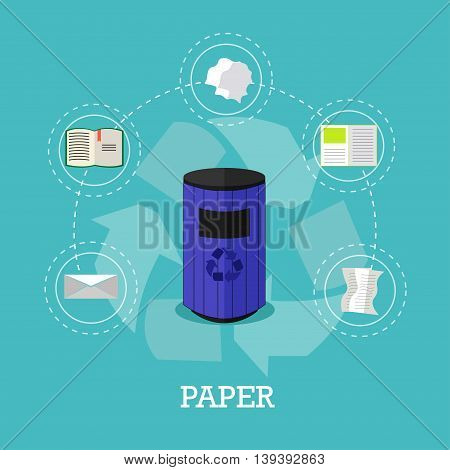 Garbage recycle concept vector illustration in flat style. Paper waste recycling poster and icons. Trash bin.