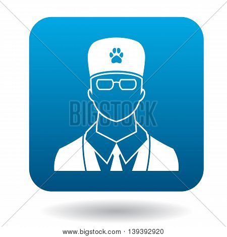 Male veterinarian doctor icon in simple style isolated on white background