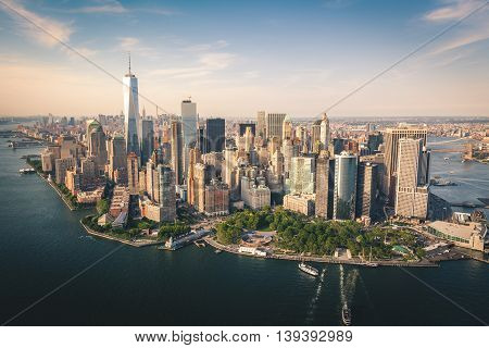 Aerial View of Downtown Manhattan from a Helicopter