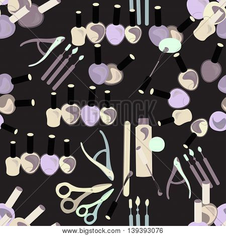 Tools Seamless Pattern Of Care For Hands And Nails Female Graphics. Vector Illustration