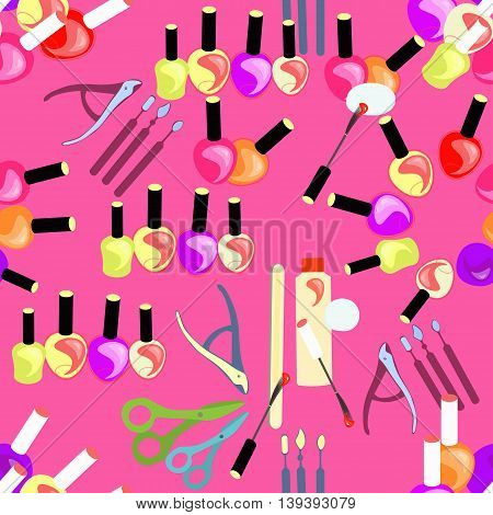 Tools Seamless Pattern Of Care For Hands And Nails Female. Vector Illustration