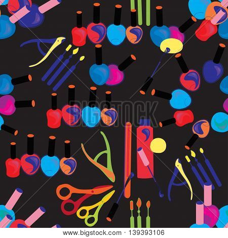 Tools Seamless Pattern Of Care For Hands And Nails Of Women In The Dark. Vector Illustration