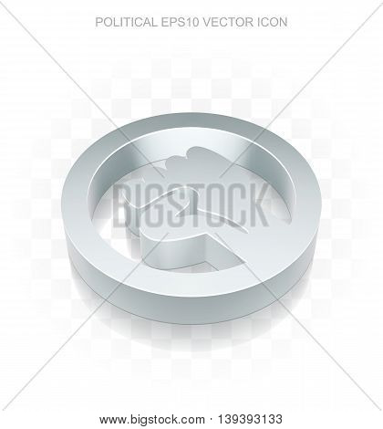 Politics icon: Flat metallic 3d Uprising, transparent shadow on light background, EPS 10 vector illustration.