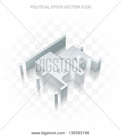 Politics icon: Flat metallic 3d Election, transparent shadow on light background, EPS 10 vector illustration.