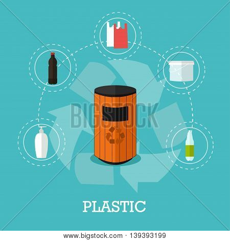 Garbage recycle concept vector illustration in flat style. Plastic waste recycling poster and icons. Trash bin.