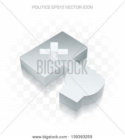 Politics icon: Flat metallic 3d Protest, transparent shadow on light background, EPS 10 vector illustration.