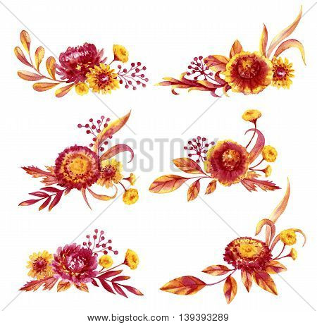 Hand drawn watercolor autumn flowers bouquets. Yellow and red floral elements set isolated on white. Fall Foliage bunches sketch.