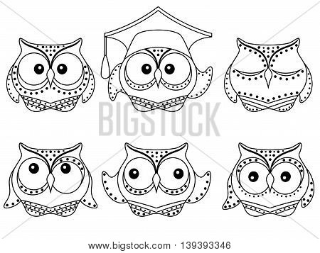 Set of six amusing owl vector black outlines isolated on the white background