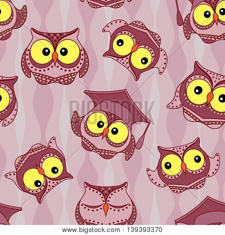 Amusing owls with big yellow eyes on the wavy background seamless vector pattern
