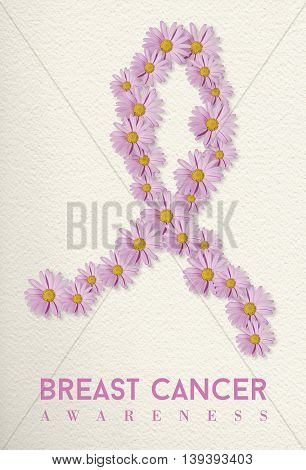 Breast Cancer Awareness Design With Flower Ribbon