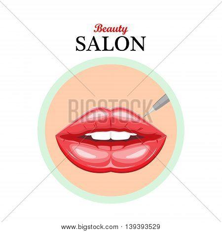Vector icon female lips.Permanent makeup lips.Illustration for beauty salonsSpa salonscosmetic storescosmetic surgeryweb design.