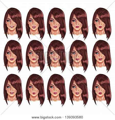 Set of beautiful brown haired woman portraits with different lips and face expressions from smiling to serious. Use for avatars logos game characters icons signs web decor or other design.