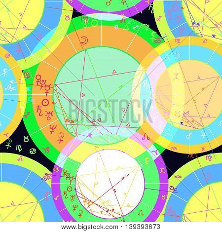 Seamless Pattern Of Colored Of Natal Of Astrological Charts. Vector Illustration