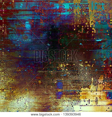 Grunge old texture used as abstract vintage style background. With different color patterns: yellow (beige); brown; green; blue; red (orange); purple (violet)
