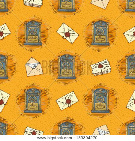 Postal Service. Seamless Vector Pattern with Envelopes, Letters and Retro Mailboxes on a Orange Background