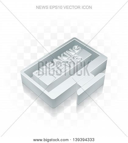 News icon: Flat metallic 3d Breaking News On Screen, transparent shadow on light background, EPS 10 vector illustration.