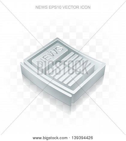News icon: Flat metallic 3d Newspaper, transparent shadow on light background, EPS 10 vector illustration.