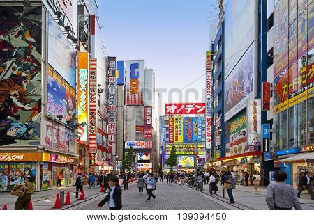 TOKYO,JAPAN-CIRKA MAY-2016: Akihabara district in Tokyo, Japan. The district is a major shopping area for electronic, computer, anime, games and otaku goods.