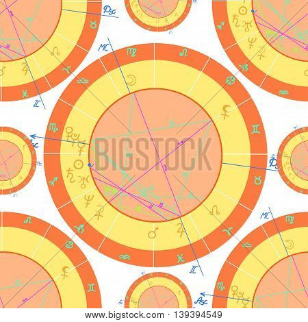 Seamless Pattern Orange Of Natal Of Astrological Charts. Vector Illustration