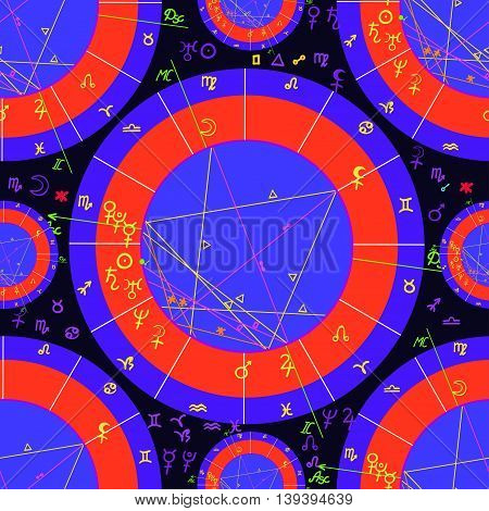 Seamless Pattern Purple Red Of Natal Of Astrological Charts. Vector Illustration