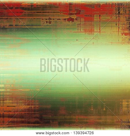 Old-style dirty background with textured vintage elements and different color patterns: yellow (beige); brown; gray; green; red (orange); pink