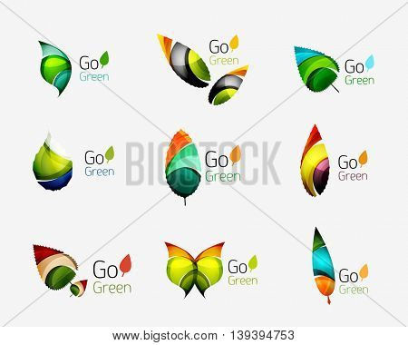 Colorful geometric nature concepts - abstract leaf logos, multicolored icons, symbol set. illustration
