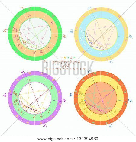 Set Of Colored Of Natal Astrology Charts. Vector Illustration