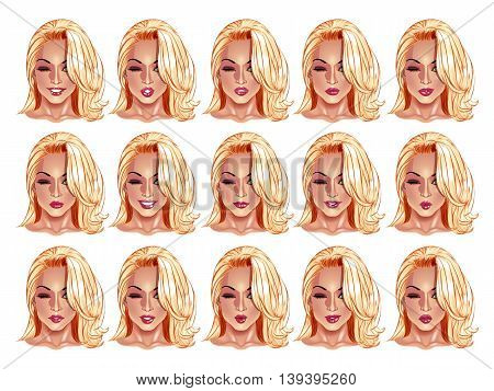 Set of beautiful blonde haired woman portraits with different lips and face expressions from smiling to serious. Use for avatars logos game characters icons signs web decor or other design.