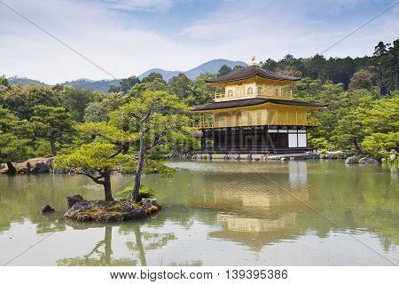Kinkaku-ji, the Golden Pavilion, The famous buddhist temple in Kyoto, Japan