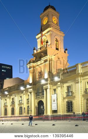 Santiago Region Metropolitana Chile - June 06 2016: A view of Historic National Museum at the border of Plaza de Armas the main square of Santiago de Chile.