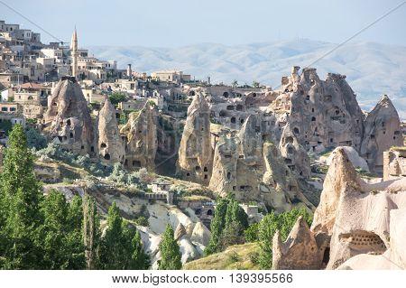 Stone houses of Ushisar in Cappadocia Central AnatoliaTurkey