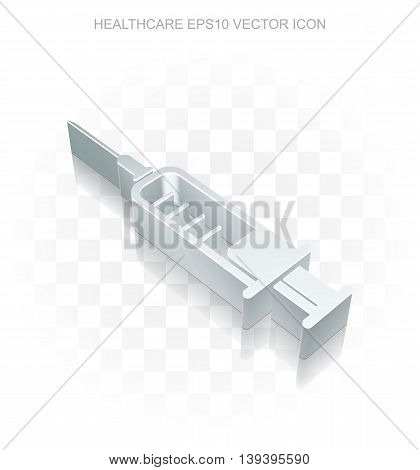 Healthcare icon: Flat metallic 3d Syringe, transparent shadow on light background, EPS 10 vector illustration.
