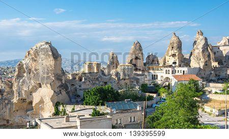Stone houses of Goreme in Cappadocia Central AnatoliaTurkey