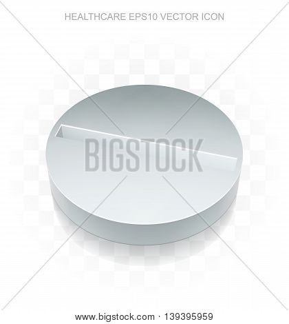 Health icon: Flat metallic 3d Pill, transparent shadow on light background, EPS 10 vector illustration.