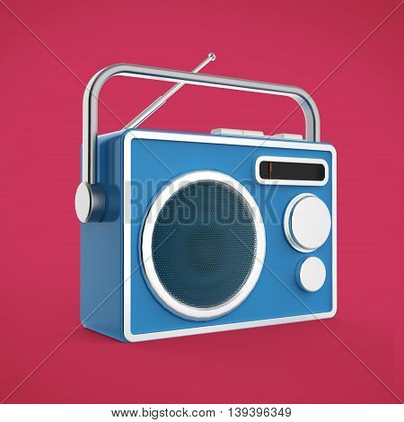Vintage colorful radio tuner receiver 3d render isolated