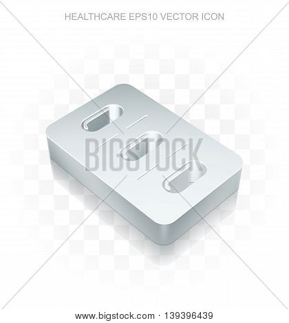 Medicine icon: Flat metallic 3d Pills Blister, transparent shadow on light background, EPS 10 vector illustration.