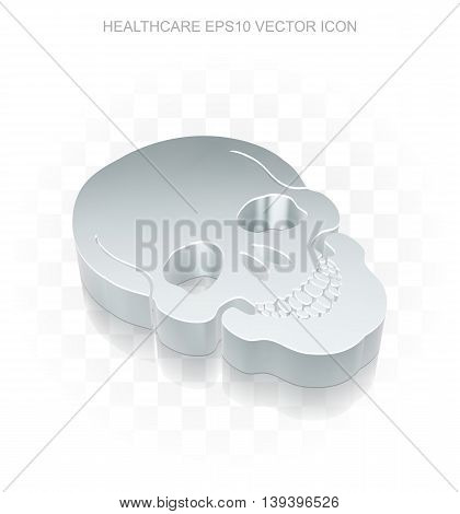 Medicine icon: Flat metallic 3d Scull, transparent shadow on light background, EPS 10 vector illustration.