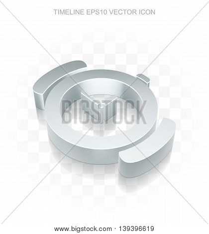 Timeline icon: Flat metallic 3d Watch, transparent shadow on light background, EPS 10 vector illustration.
