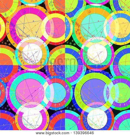 Set Of Seamless Pattern Of Natal Of Astrological Charts. Vector Illustration